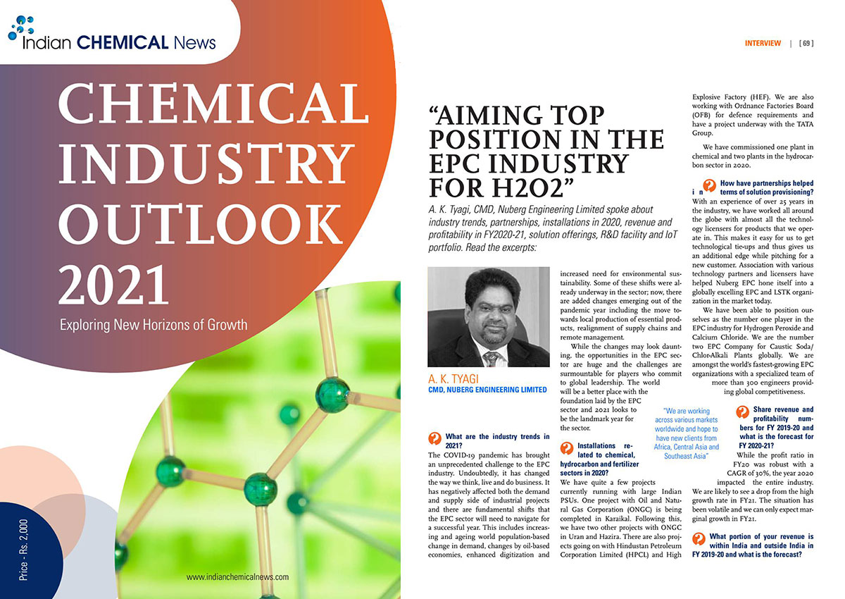 AK Tyagi, Chairman & Managing Director, Nuberg Engineering Ltd., interview with Chemical Industry Outlook 2021