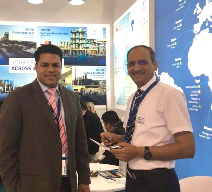 Arun Tyagi, Head - Marketing interact with guest at ACHEMA 2018
