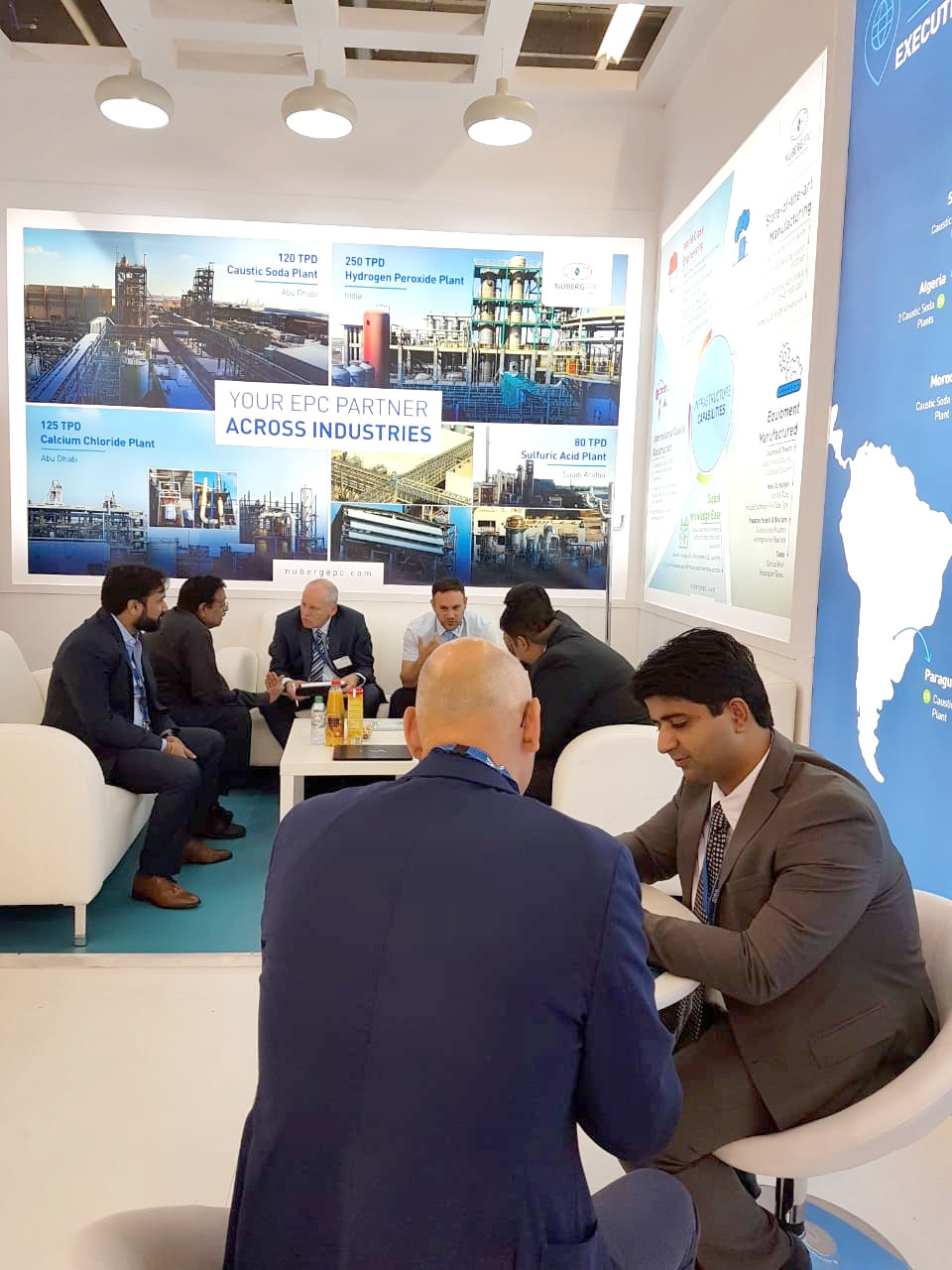 Amit Tyagi, Nuberg Director interact with guests at ACHEMA 2018