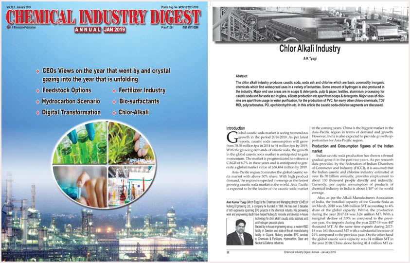 Chemical Industry Digest Magazine – Chlor Alkali Industry views and analysis by AK Tyagi, Nuberg EPC