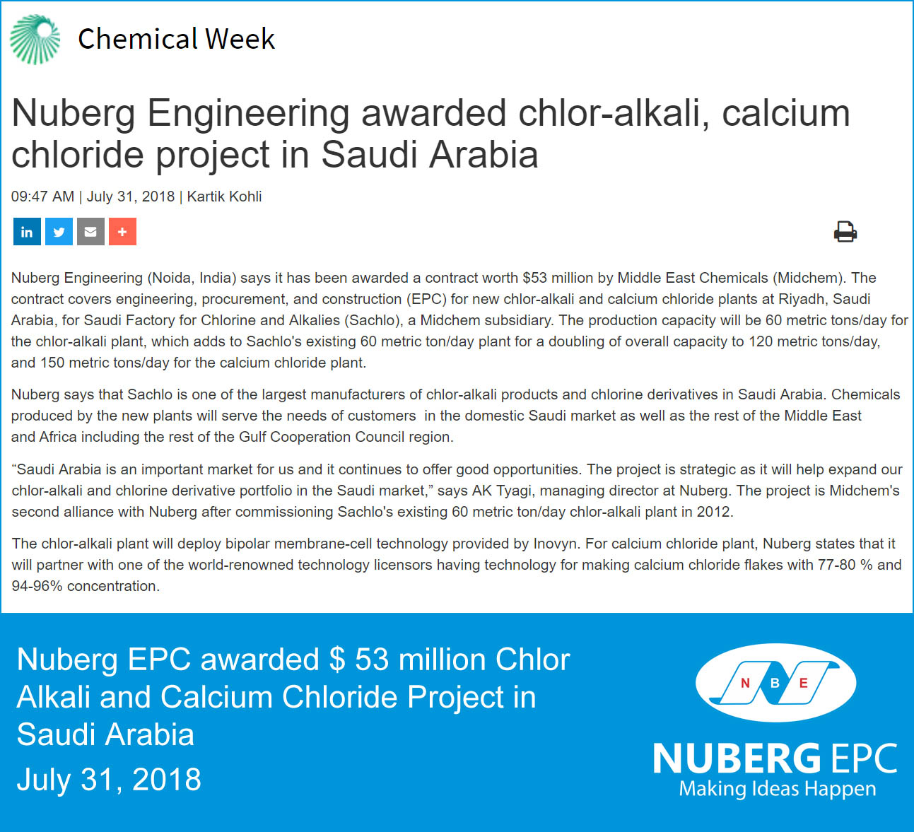 Chemical Week- Nuberg EPC awarded Chlor Alkali and Calcium Chloride turnkey project in Saudi Arabia